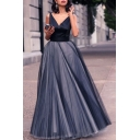 Trendy Navy V-Neck Sleeveless Womens Mesh Panel Swing Evening Gown Dress