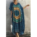 Summer Trendy Bohemian Pattern V-Neck Short Sleeve Holiday Beach Maxi Kaftan Dress