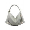 Minimalist Plain Rivet Tassel Embellishment Large Leather Tote Bag 52*2*32 CM