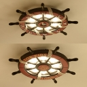 Brown Rudder LED Ceiling Lamp Letter/Seagull Nautical Metal Flush Mount Light for Kindergarten
