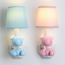 1 Light Cartoon Bear Wall Sconce Cute Resin Blue/Pink Sconce Light in Warm/White for Hallway