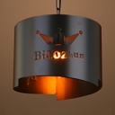 Antique Style Drum Hanging Light with Crown 1 Light Metal Pendant Lamp in Black for Cafe Bar