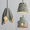 Gray Bucket/Heart/Ripple Pendant Light 1 Light Antique Style Cement Hanging Light for KTV Bar