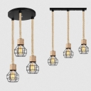 Metal Wire Frame Pendant Light Dining Table 3 Lights Rustic Style Hanging Light in Beige