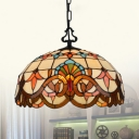 Tiffany Victorian Beige Pendant Light Dome Shade 1 Light Stained Glass Ceiling Lamp for Kitchen