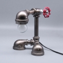 Bronze/Silver Water Pipe Desk Light 1 Head Industrial Metal Table Lamp for Boy Bedroom