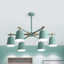 Macaron Loft Bucket Chandelier Metal 3/6/8 Lights Green/Pink/White Hanging Light for Girls Bedroom