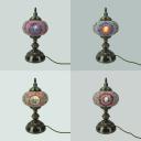 Hotel KTV Spherical Table Light Stained Glass Single Light Art Deco Plug In Table Lamp