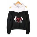 Unique Cartoon Letter DOG MOM Print Cold Shoulder Loose Casual Hoodie