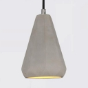 Cement Triangle Shade Pendant Light Restaurant 1 Light Vintage Style Hanging Lamp in Gray
