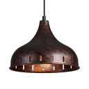 1 Light Onion Shape Pendant Light Antique Style Metal Hanging Lamp in Rust for Restaurant