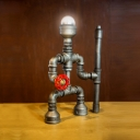 Metal Knight Robot Desk Light Child Bedroom 1 Light Industrial Table Lamp in Silver