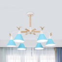 Macaron Blue/Green/White Chandelier Cone Shade Deer 6 Lights Metal Pendant Light for Nursing Room
