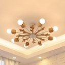 Kindergarten Snowflake Pendant Light Wood 3/6/8 Lights Nordic Style Beige Chandelier