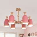 Kids Bedroom Cup Shade Chandelier Wood 3/6/8 Lights Nordic Style Gray/Pink Suspension Light