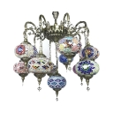 Hotel Lantern Shape Hanging Light Wrought Iron 11 Lights Art Deco Multi-Color Chandelier