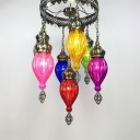 Fluted Glass Teardrop Suspension Light 7 Lights Vintage Style Multi-Color Chandelier for Cloth Shop