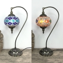 Blue/Yellow Lantern Table Light 1 Light Art Deco Stained Glass Metal Desk Lamp for Study Room