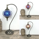 1 Light Sphere Desk Light Moroccan Turkish Glass Table Light in Blue/Multi-Color/Red for Bedroom