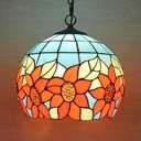 Tiffany Antique Sunflower Hanging Light Stained Glass 1 Light Blue Pendant Lamp for Restaurant