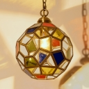 Restaurant Polyhedron Ceiling Pendant Stained Glass 1 Light Tiffany Vintage Suspension Light