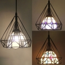 1 Light Lattice Bowl Pendant Light with Wire Frame Industrial Metal Ceiling Light in Black for Shop