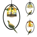 Antique Craftsman/House/Rectangle Pendant Light 1 Light Stained Glass Ceiling Lamp with Bird for Balcony