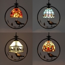 Tiffany Rustic Dome/Lodge Pendant Light Stained Glass 1 Head Suspension Light with Bird for Hallway