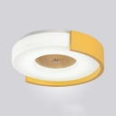 Wood Concentric Circles Flush Ceiling Light Modern LED Ceiling Fixture in Green/Pink/Yellow for Kindergarten