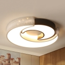 Creative Two Moon Flush Mount Light Acrylic LED Ceiling Light in Warm/White/Third Gear for Child Bedroom