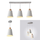 White Bucket Hanging Light 1/3 Lights Modern Style Rustproof Metal Ceiling Light for Kitchen