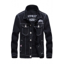 Men New Fashion Simple Letter Print Contrast Stitching Long Sleeve Button Down Denim Jacket