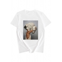Summer Unique Abstract Floral Figure Pattern Round Neck Short Sleeve Casual Tee