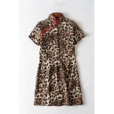Chic Retro Chinese Style Frog Button Stand Collar Short Sleeve Khaki Leopard Print Mini Sheath Dress