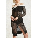 Womens Black Sexy Hollow Out Check Net Off the Shoulder Long Sleeve Zipper Split Front Midi Bodycon Dress