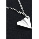 Unique Stylish Paper Plane Shaped Silver Necklace Pendant