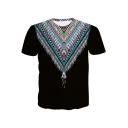 Summer Street Fashion Tribal Feather Printed Short Sleeve Round Neck Black Tee