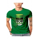 Funny Green Skull with Hat 3D Print Basic Short Sleeve Fitted T-Shirt