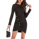 Simple Plain Round Neck Long Sleeve Button Embellished Mini Black Bodycon Dress