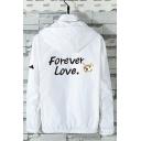 Cartoon Dog Letter FOREVER LOVE Pattern Back Long Sleeve Zip Up Hooded Sun Protection Lightweight Jacket Coat