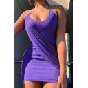 Womens Sexy Halter Scoop Neck Sleeveless Silk Plain Mini Bodycon Club Dress