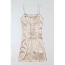 New Stylish Simple Plain Lace-Up Front Apricot Mini Slip Dress for Women