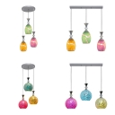 Multi-Color Globe/Oval Island Light 3 Lights Mosaic Glass Pendant Light for Restaurant Cafe
