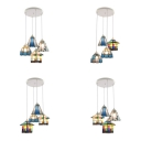 Glass Round Canopy Pendant Light 4 Lights Mediterranean Style Hanging Light for Living Room