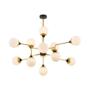 Frosted Glass Orb Chandelier Hotel Restaurant 12 Lights Elegant Style Pendant Light in Gold