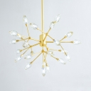 Restaurant Twig Shaped Chandelier with Bud Crystal Metal 26 Lights Creative Gold Pendant Lamp