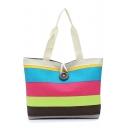 Fashion Colorblock Stripe Pattern Button Embellishment Colored Canvas Tote Shopper Bag with Zipper