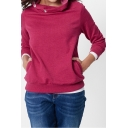 Womens Chic Funnel Neck Long Sleeve Simple Solid Color Casual Pullover Sweatshirt