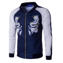 Mens New Trendy Dragon Pattern Stand Collar Long Sleeve Colorblock Zip Up Navy Baseball Jacket