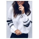 Basic Round Neck Ruffled Patched Long Sleeve Casual Loose Pullover Sweatshirt